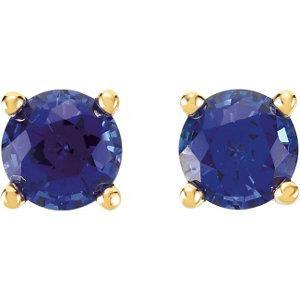 Lab-Grown gemstone stud earrings blue sapphire