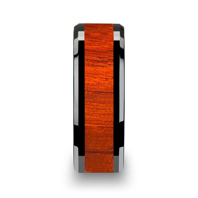 BOSULU Black Ceramic Wood Ring with Polished Bevels and Padauk Wood Inlay - 8mm