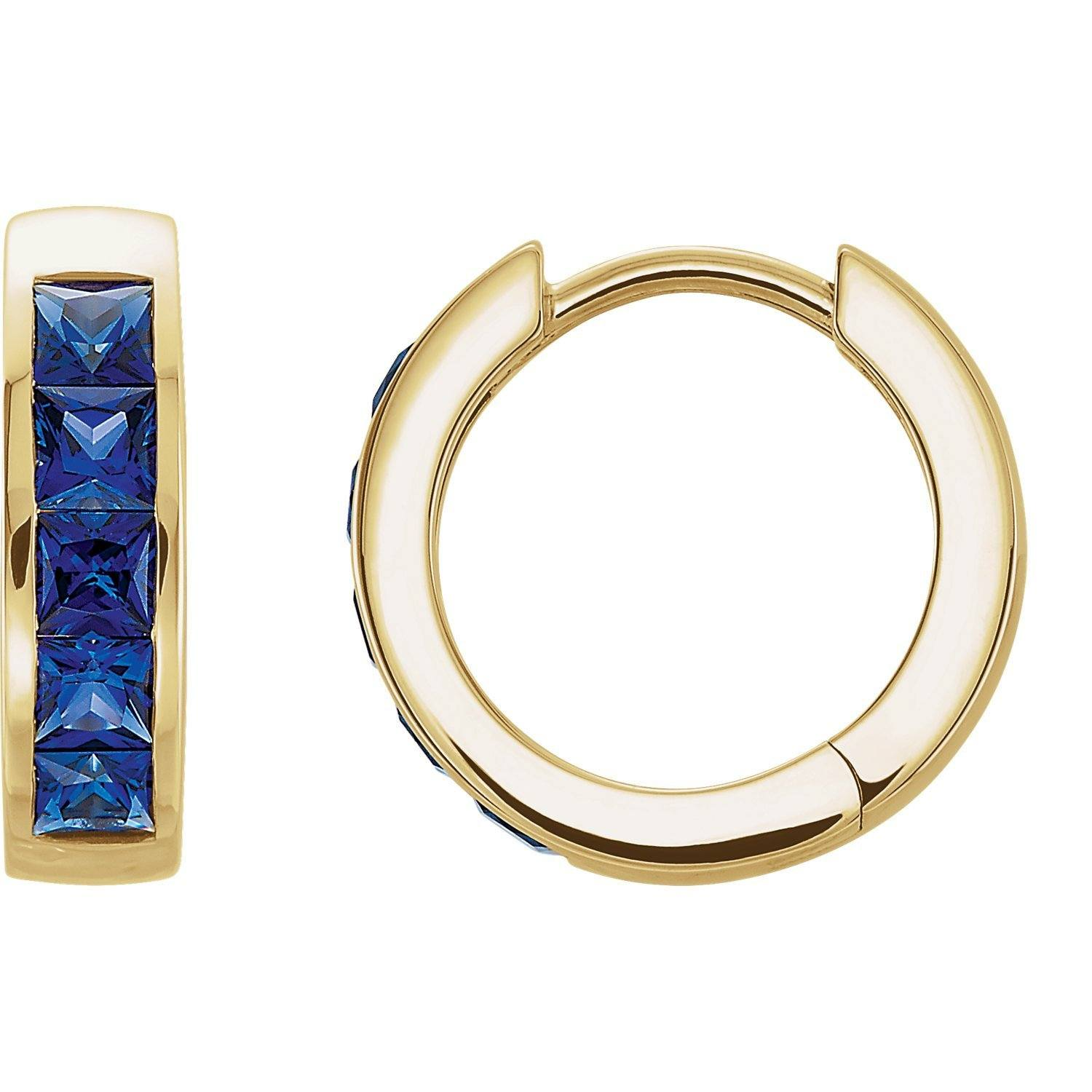 Lab-Grown Blue Sapphire Square-Cut Hoop Earrings