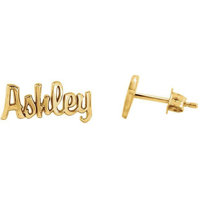 Customizable Script Nameplate Earrings