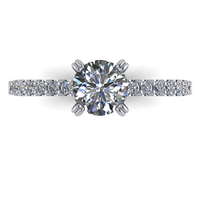 Cathedral style solitaire moissanite ring soha diamond co.