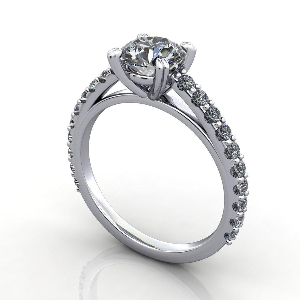 Cathedral solitaire with side stones soha diamond co.