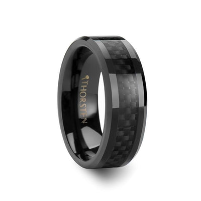 ONYX Black Ceramic Ring with Black Carbon Fiber Inlaid