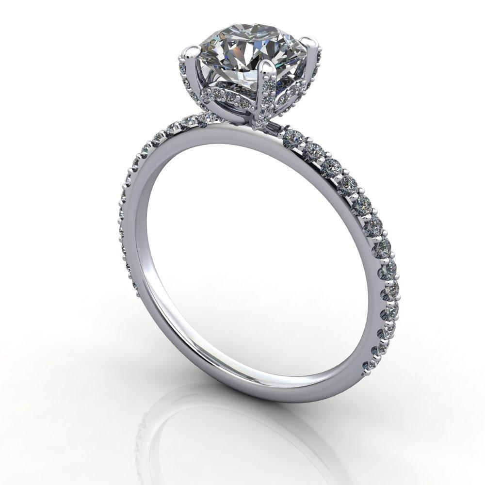 engagement ring with diamond basket diamond prongs soha diamond co