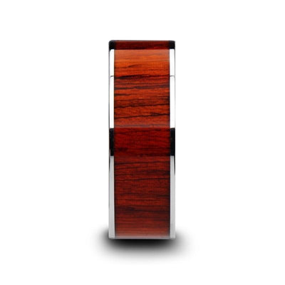 CLAYMORE Flat Tungsten Carbide Band with Padauk Wood Inlay and Polished Edges - 8mm