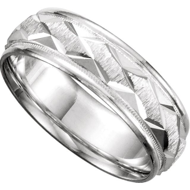Wedding Bands - Comfort Fit Diamond Cut Wedding Band (7mm)