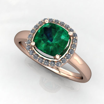 Cushion Cut halo gemstone engagement ring