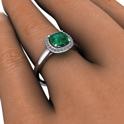 Single Halo with Cushion Cut Gemstone