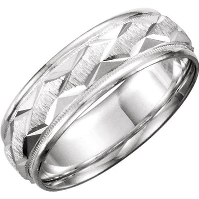 Comfort Fit Diamond Cut Wedding Band (7mm)