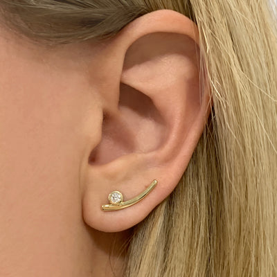 Yellow Gold Bezel Set Diamond Ear Climber