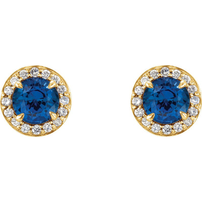 Earring - 14k Gold Round Sapphire Halo Earrings