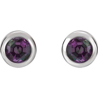 Earring - 14k White Gold Bezel-Set Gemstone Earrings