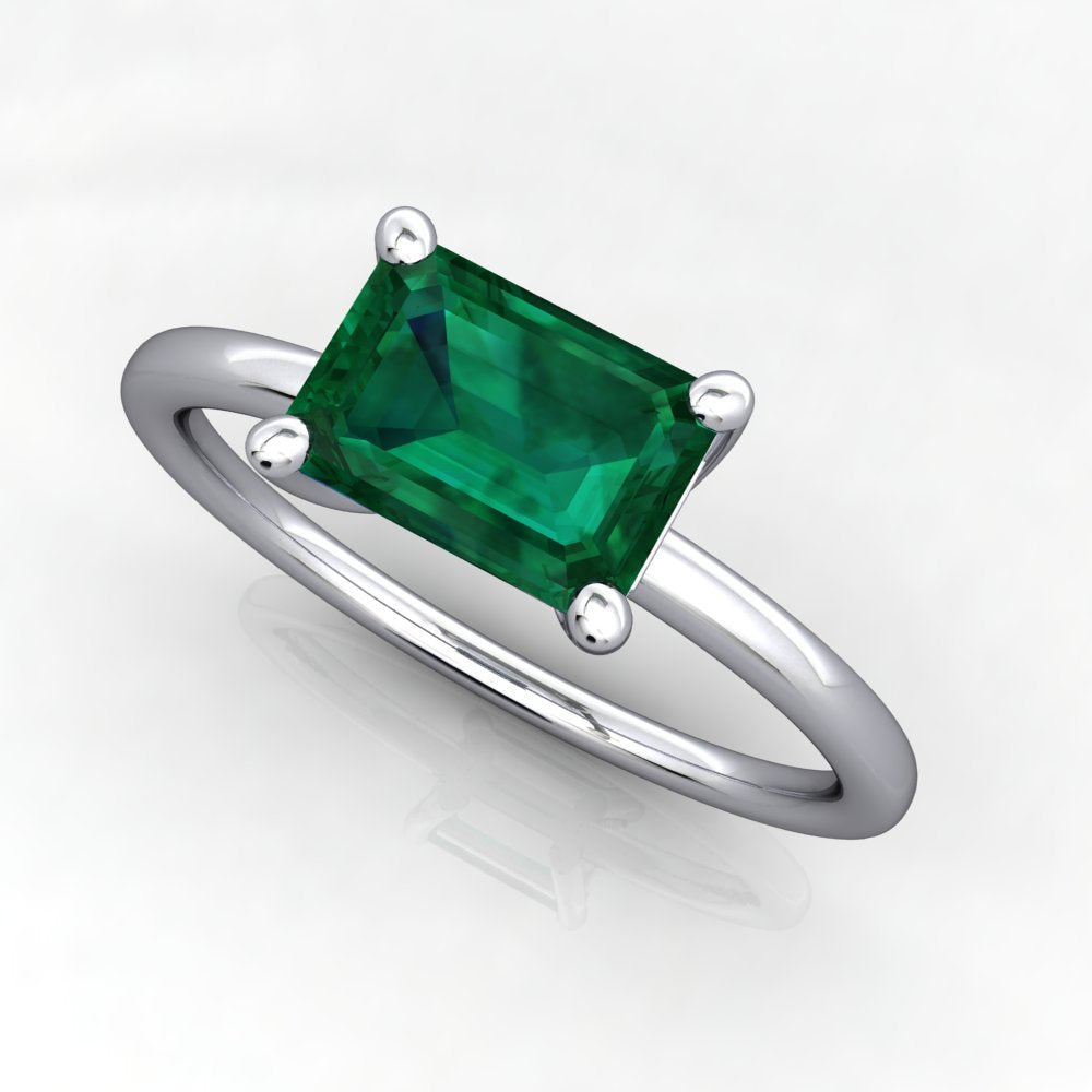 East west lab grown emerald ring