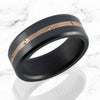 Elysium ARES Black Diamond Wedding Band with 18k Rose Gold Mokume Inlay, Beveled Edge, Polished, Satin, Matte, 6 MM or 8 MM