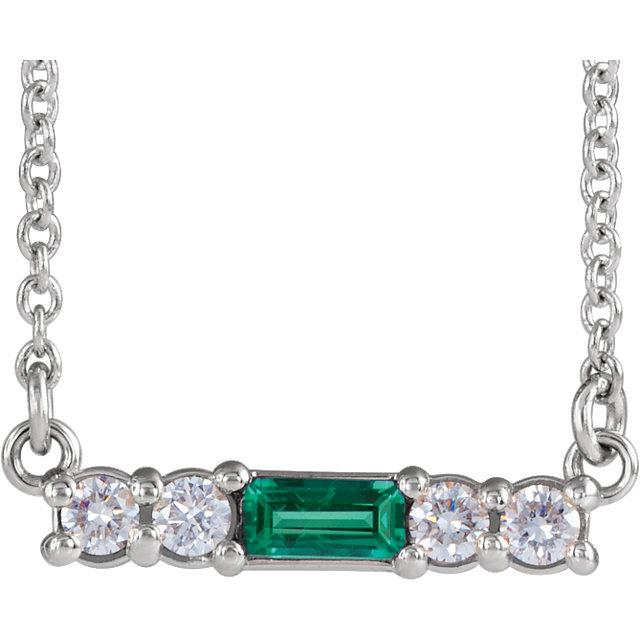 Gemstone Baguette Bar Necklace with Diamond Accents