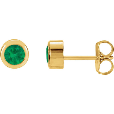 14k Gold Bezel-Set Gemstone Earrings