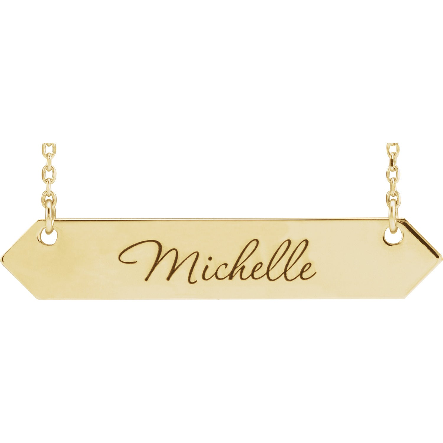 Engravable Geometric Bar Necklace