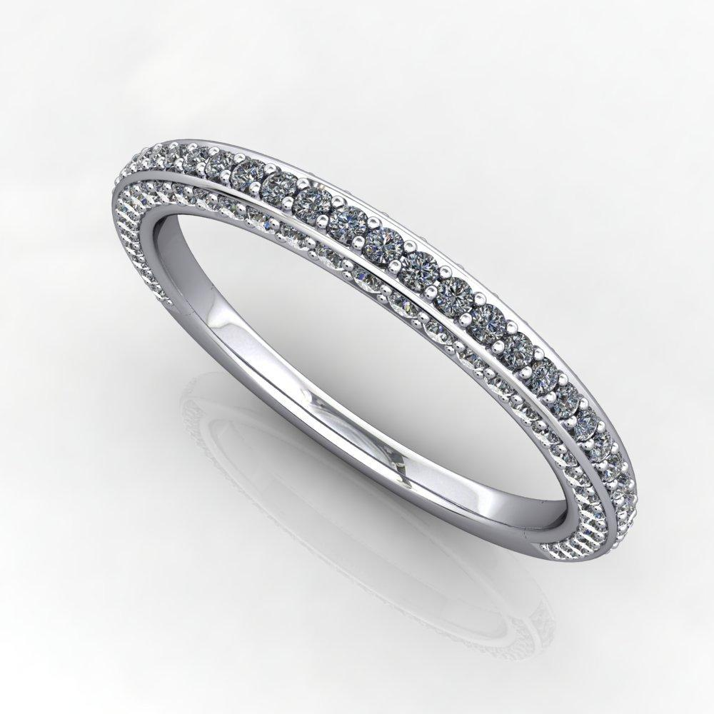 flooded pave diamond wedding band white gold