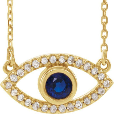 Evil Eye necklace in 14k yellow gold with blue sapphire and diamond
