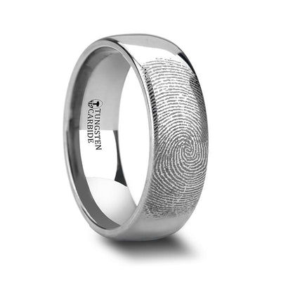 Fingerprint Engraved Domed Tungsten Ring Polished