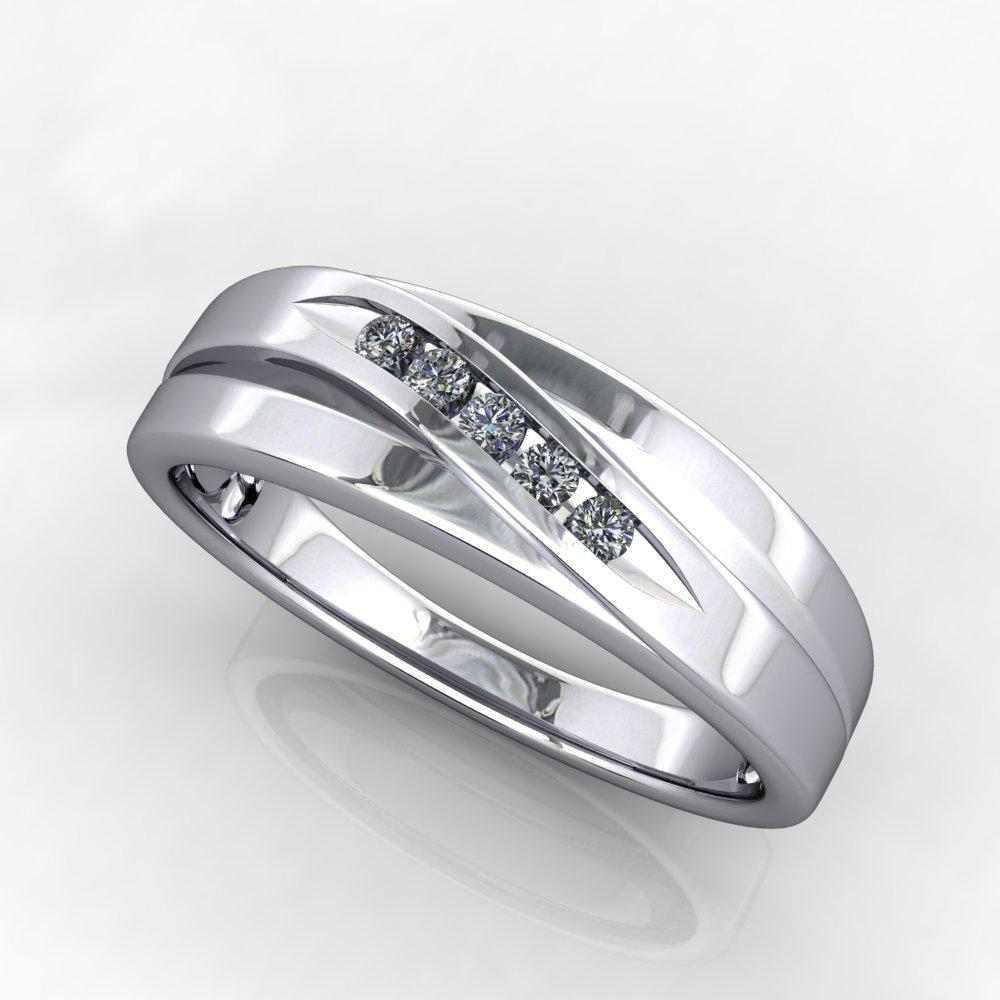 Five stone diagonal men's lab-grown diamond wedding band