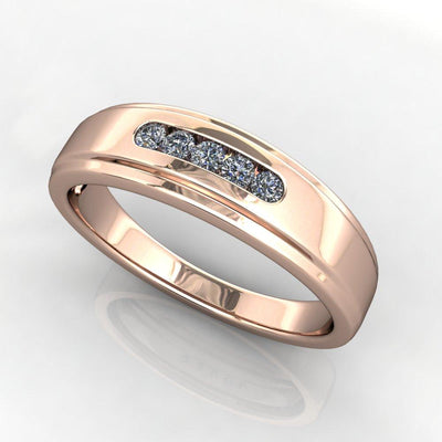 Five Stone Men's Diamond Wedding Band