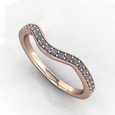 curved contoured diamond wedding band white gold