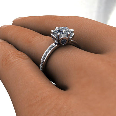 vintage and floral inspired halo engagement ring soha diamond co.