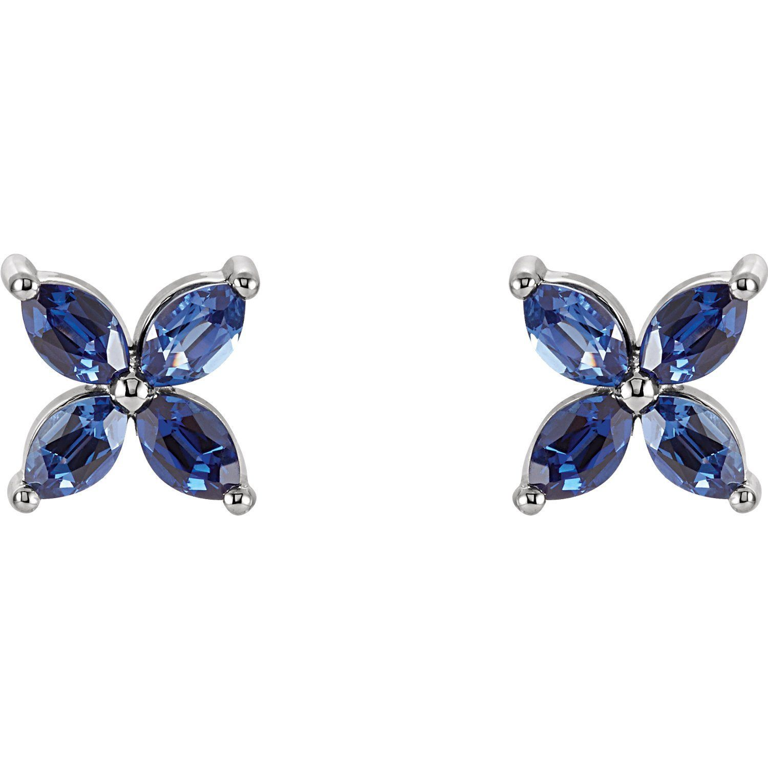 Flower-Shaped Grown Gemstone Earrings