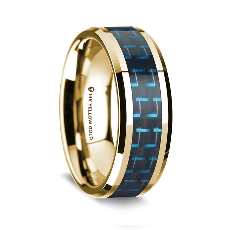 14K Yellow Gold Polished Beveled Edges Wedding Ring with Black and Blue Carbon Fiber Inlay - 8 mm