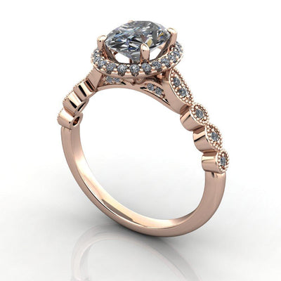 vintage inspired halo ring with milgrain and scalloped details soha diamond co.