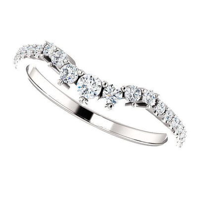 Graduated Contoured diamond accented Wedding Band