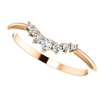 Half graduated diamond accented contour band rose gold