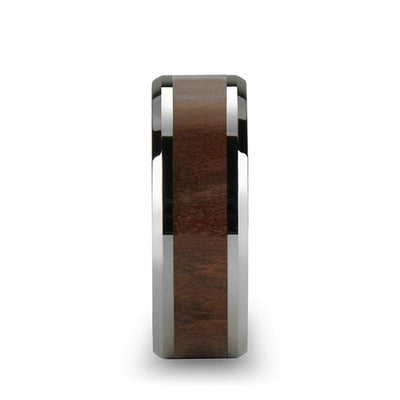 HALIFAX Beveled Tungsten Carbide Ring with Black Walnut Wood Inlay - 8mm