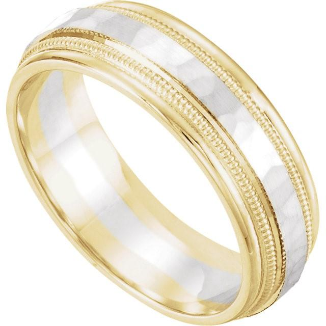 Wedding Bands - Two-Tone 14k Gold Wedding Band With Hammered Inlay (6mm)