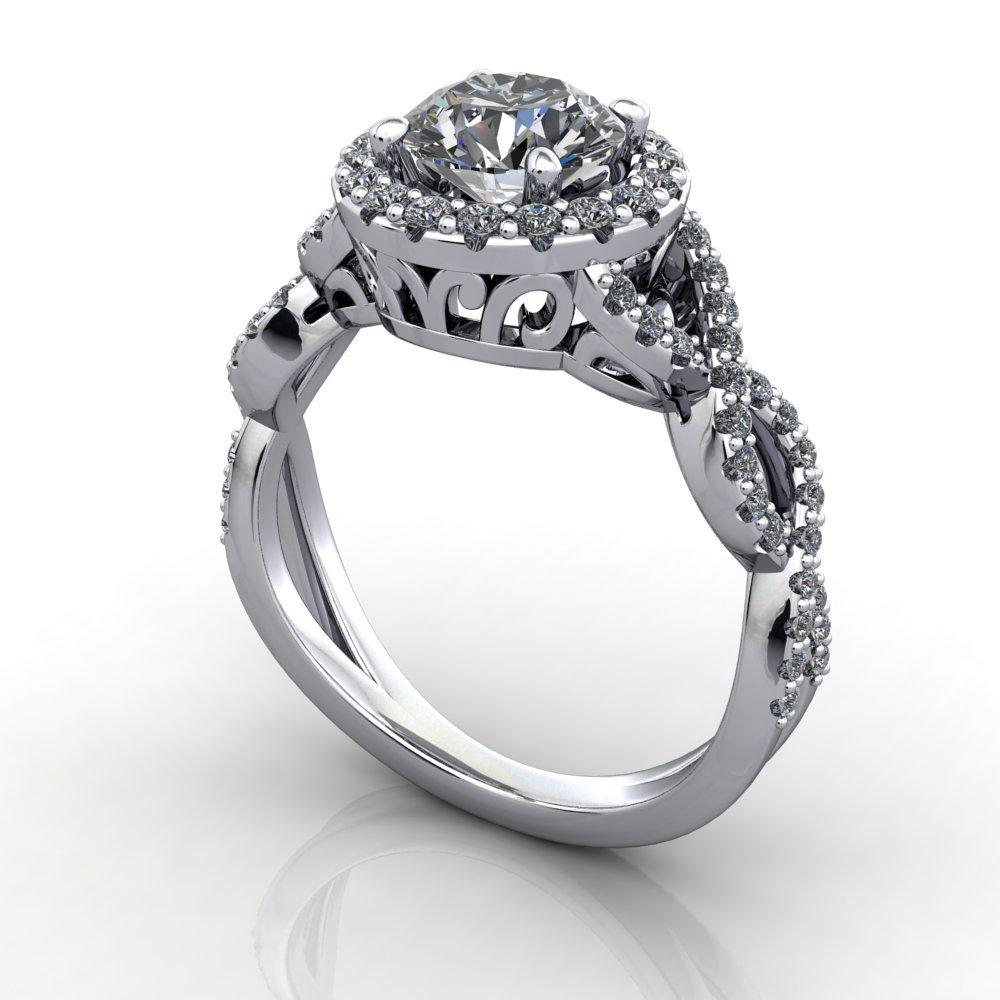 french inspired vintage inspired halo engagement ring