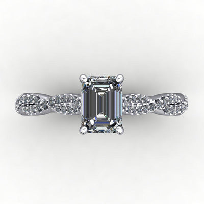 Infinity inspired solitaire engagement ring soha diamond co. emerald cut