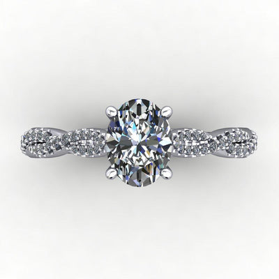 Infinity inspired solitaire engagement ring soha diamond co. oval cut