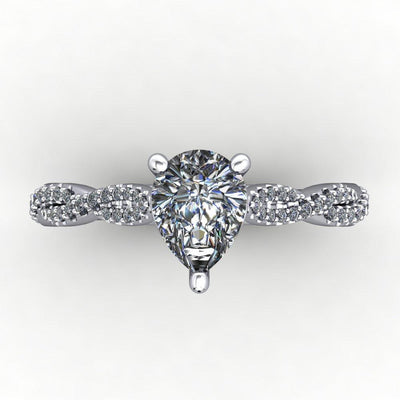 Infinity inspired solitaire engagement ring soha diamond co. pear cut