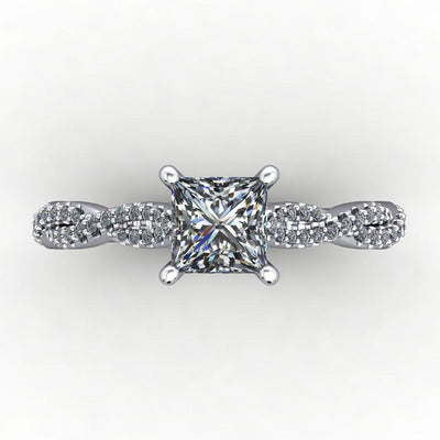 Infinity inspired solitaire engagement ring soha diamond co. princess cut