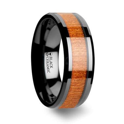 IOWA Black Ceramic Wedding Ring with Polished Bevels and Black Cherry Wood Inlay - 6mm & 8mm