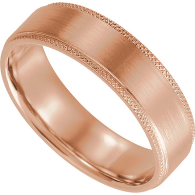 Knurled Edge Wedding Band with Satin Finish (6mm)