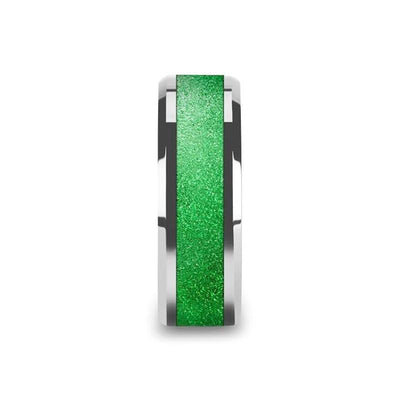 LAWRENCE Tungsten Beveled Edges Sparkling Green Inlay Men's Wedding Band - 8mm
