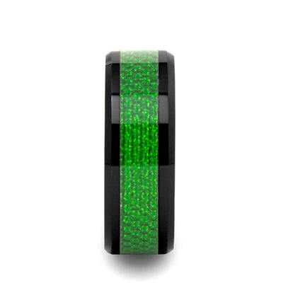 MATLAL Black Ceramic Ring with Green Carbon Fiber Inlay and Beveled Edges - 8mm