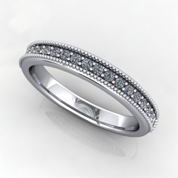 Milgrain Beaded Diamond Wedding Band