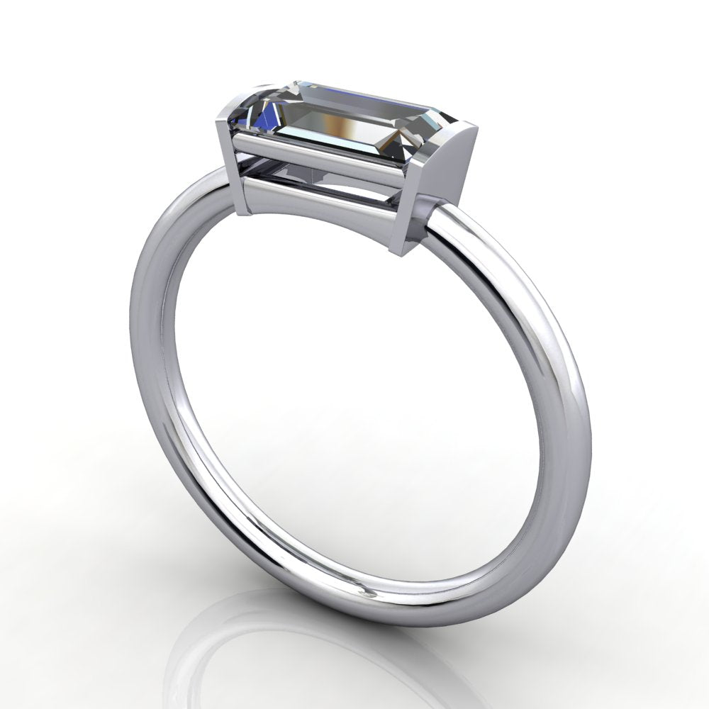 Natalie East-West Solitaire Engagement Ring (setting only)