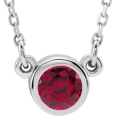 "Necklace - Bezel-Set Gemstone 16"" Necklace"