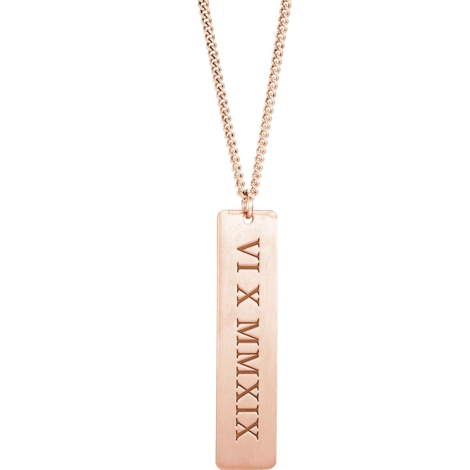 Necklace - Gold-Plated Roman Numeral Dog Tag Necklace