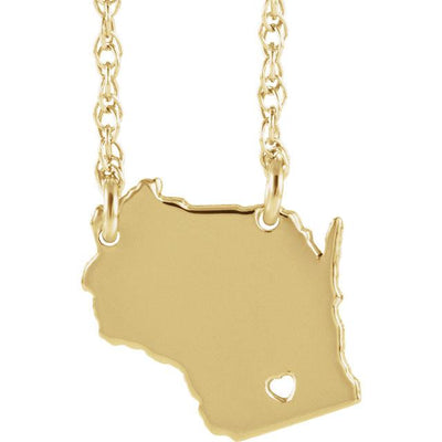 Necklace - Love My State: Gold Personalized Necklace