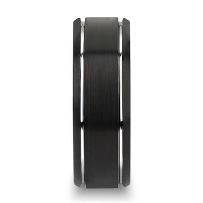 NOCTURNE Beveled Black Tungsten Carbide Band with Brushed Finish and Polished Grooves - 6mm & 8mm
